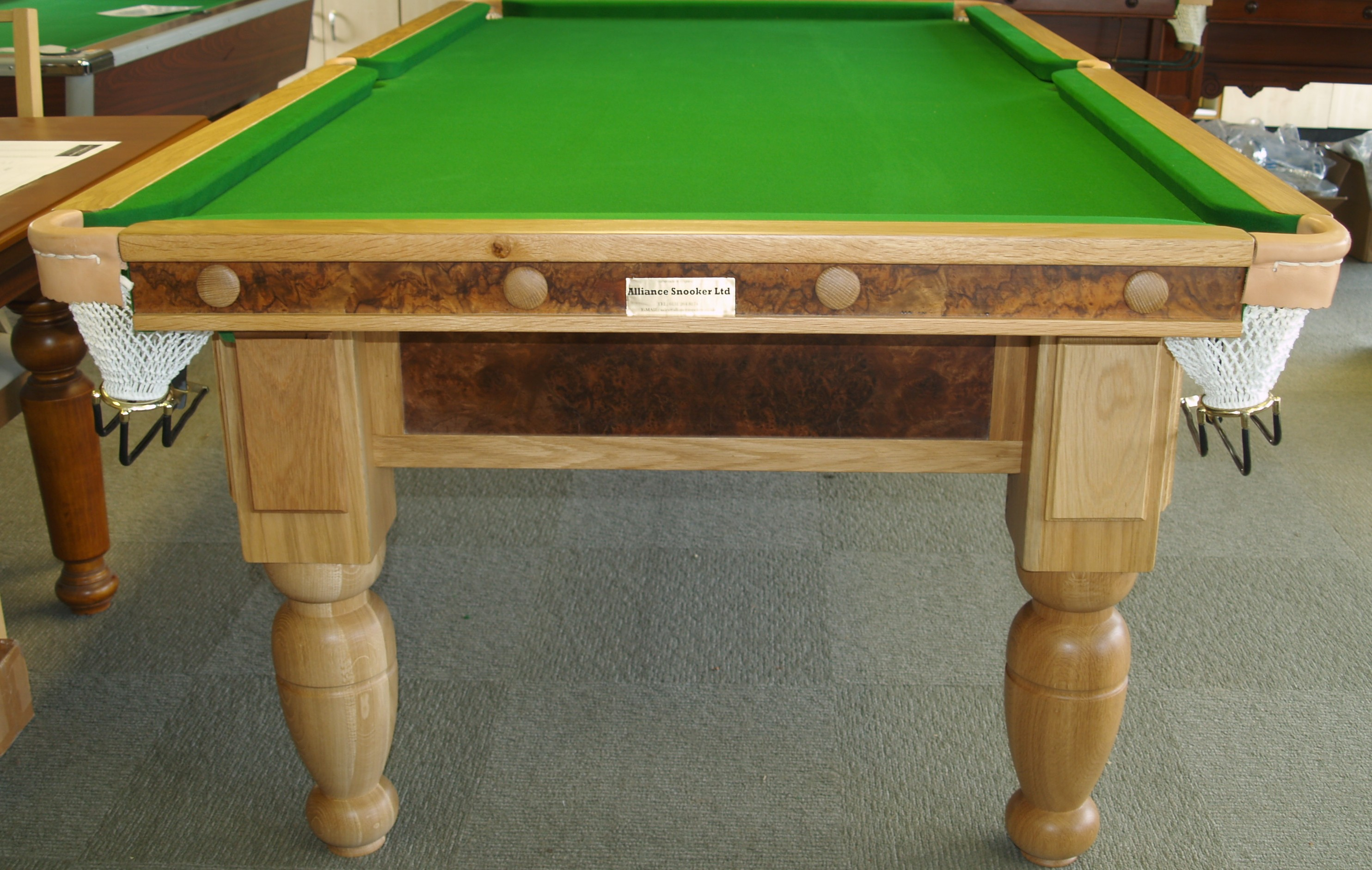 8ft Oak & Walnut Reconditioned Table - end