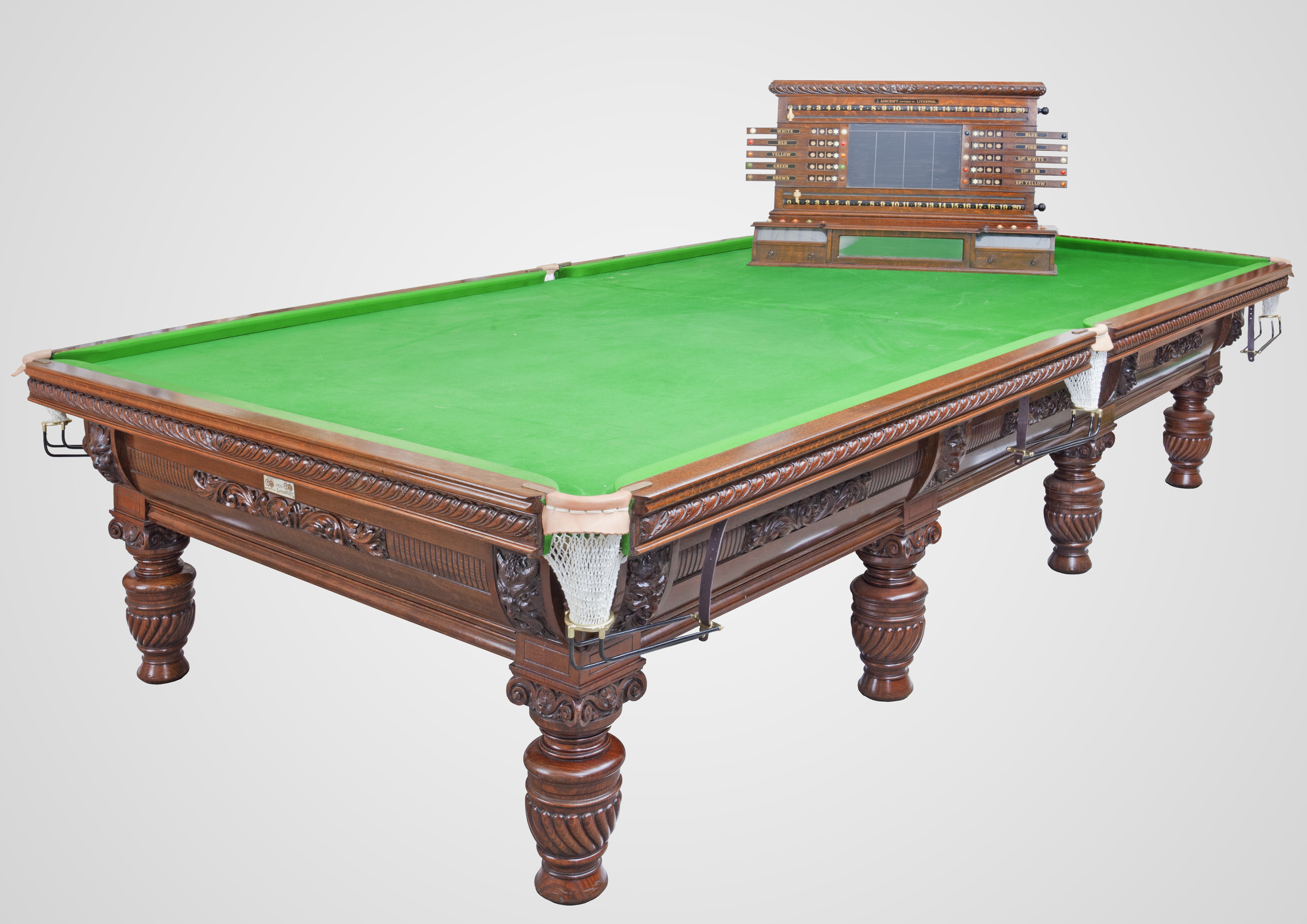 9d99f32528b4 Ashcroft Gold Medal Antique Billiard Table with life pool scoreboard ...